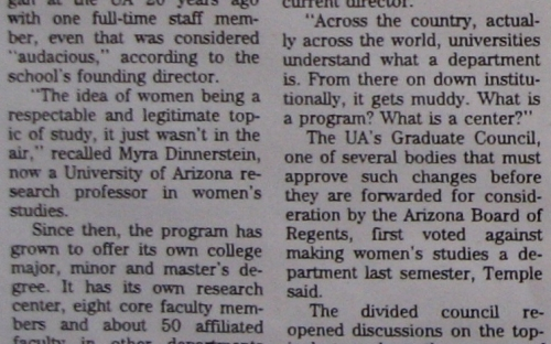1996 article - Women's Studies Program Seeks Department Status