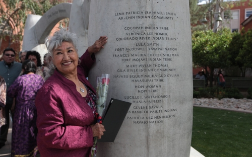 Colorado River Indian Tribes honoree Veronica Lee Homer points out her engraved