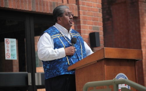 Dr Ned Norris Chairman of the Tohono O'odham nation speaking at the dedication