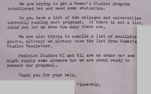 Letter from Dinnerstein to Dr. Howe regarding establishing Women's Studies