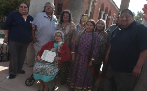 Family of Fort Mojave honoree Francis Stillman under the arch