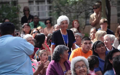 Gevene Savala honoree from Kaibab Paiute acknowledged by the crowd