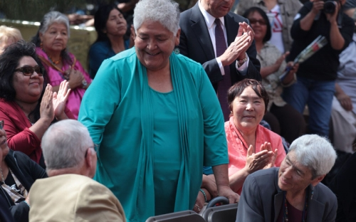 Gila River Indian Community honoree Mary Vivian Thomas acknowledged at the cerem