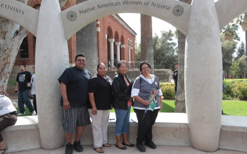 Guests from Salt River Pima-Maricopa Indian Community under the arch