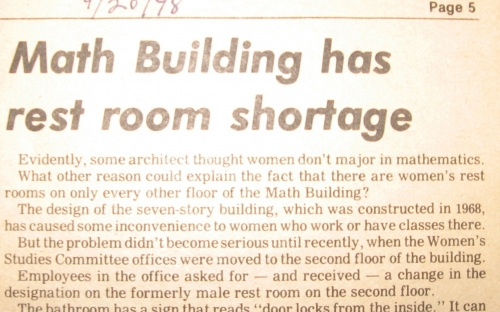 Math Building has rest room shortage