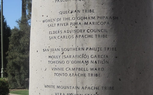 Names engraved on the Native American Women's Arch column two