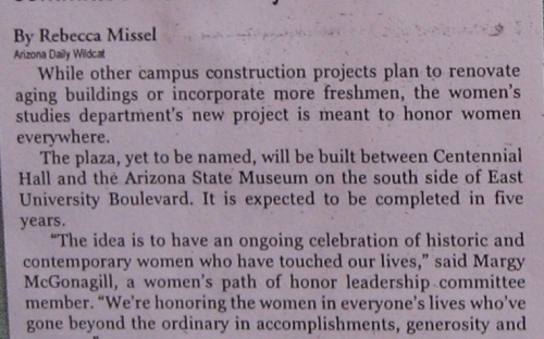 Women's Studies will construct new plaza to honor heroines