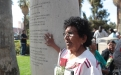 A relative of Tohono O'odham honoree Molly Garcia at the arch